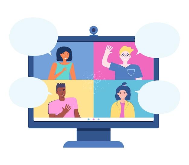 Videoconferencia desde casa. monitor con personas y bocadillos. chatear con amigos en línea