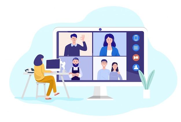 Videoconferencia en casa, mujer con videollamada reunión con clientes en casa.