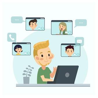 Videoconferencia en casa, reunión de videollamadas con clientes en casa. trabajo desde casa idea. reunión en línea. vector