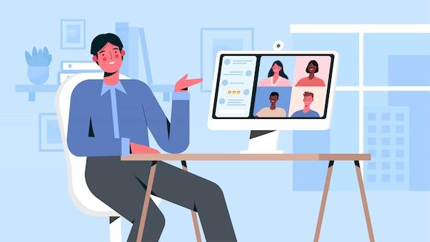 Videoconferencia con colegas.