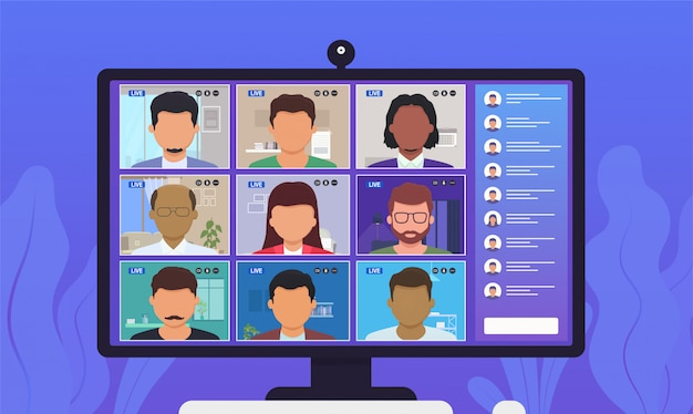 Videoconferencia de conferencia. personas hablando entre ellos en la pantalla del monitor.