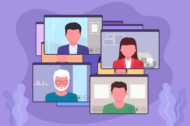 Videoconferencia, discusión comercial en línea, video chat. concepto de comunicación en línea.