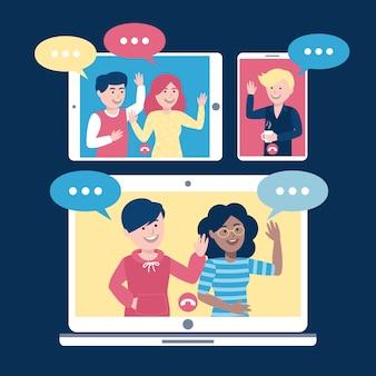 Videoconferencia en línea con amigos