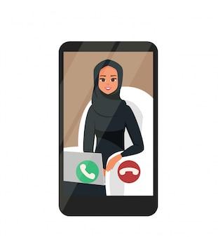 Videoconferencia en línea con feliz empresaria árabe