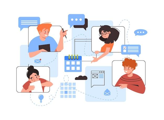 Videoconferencia de personas y burbujas de mensajes, comunicación y trabajo, videollamada en línea.
