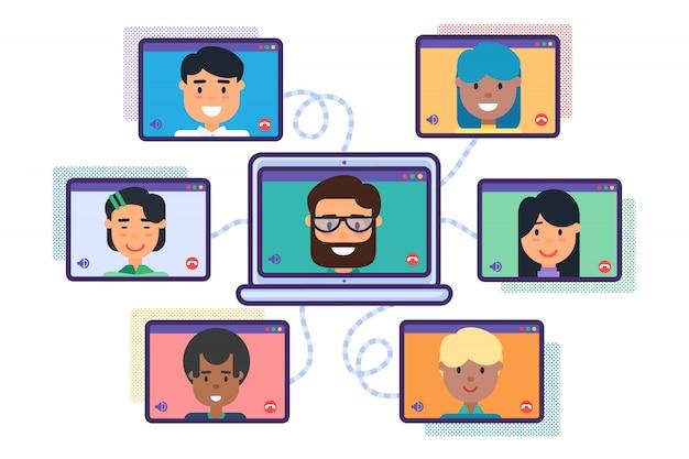 Videoconferencia, reunión en línea del equipo mix race