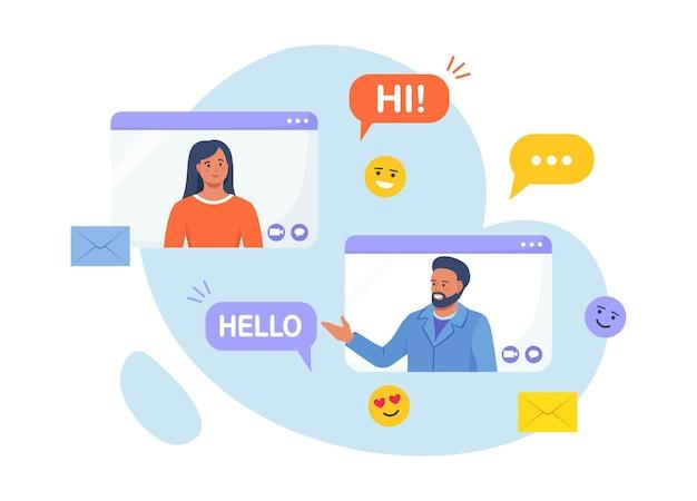 Videoconferencia y reunión virtual. aplicación de citas y relación remota. hombre en el escritorio charlando con una mujer en línea. mensajería con aplicación de chat o red social. conversación por internet, seminario web