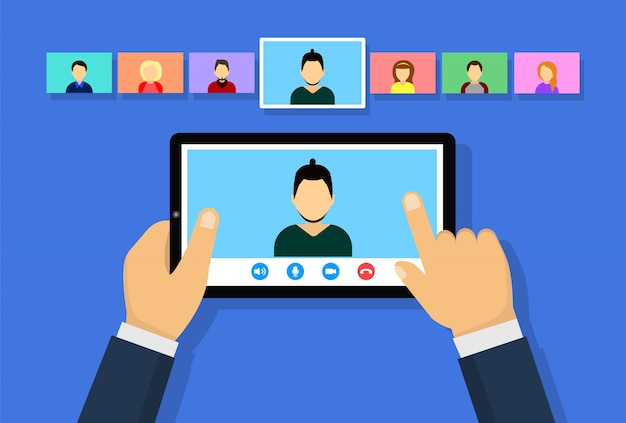 Videoconferencia en la tableta. reunión en línea. concepto de trabajo remoto, educación en línea.
