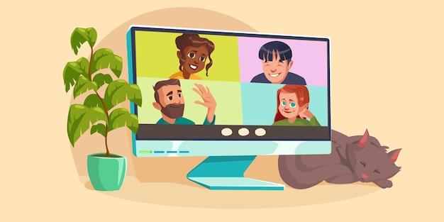 Videoconferencia virtual en línea en el escritorio de la computadora con chat en grupo de personas