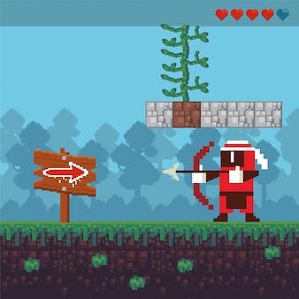 Videojuego arquero guerrero en escena pixelada
