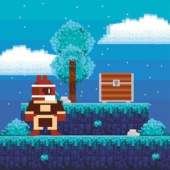 Videojuego guerrero con cofre del tesoro en escena pixelada
