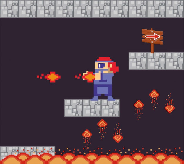 Videojuego guerrero disparando en escena pixelada
