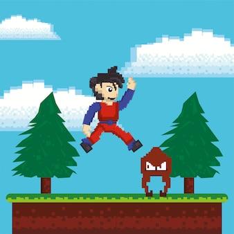 Videojuego guerrero saltando en escena pixelada