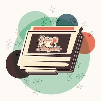Videojuego retro con diseño de ilustración de vector de cassette