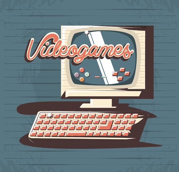 Videojuego retro con diseño de ilustración de vector de computadora