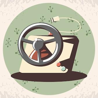 Videojuego retro con diseño de ilustración de vector de rueda de coche