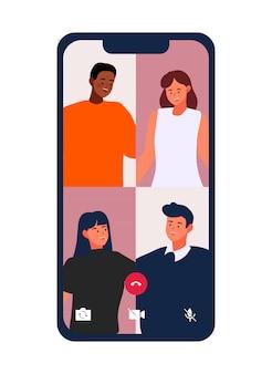 Videollamada: los amigos se reúnen por videoconferencia en una ilustración de teléfono móvil