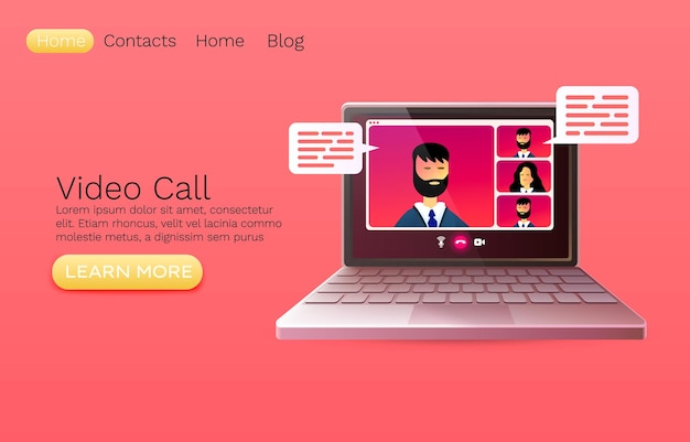 Videollamada, chat portátil, concepto de conversación de personas, aplicación de banner web