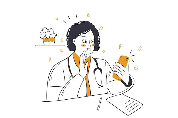Videollamada, comunicación inalámbrica, concepto de comunicación médica.