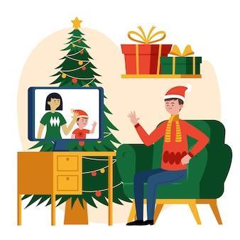 Videollamada familiar navideña
