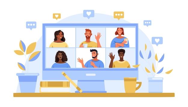 Videollamada grupal y concepto de reunión virtual con pantalla de computadora, avatares de personas diversas