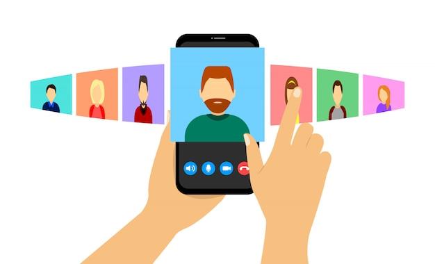 Videollamada grupal por teléfono. video conferencia. trabajo a distancia, educación en línea en cuarentena.