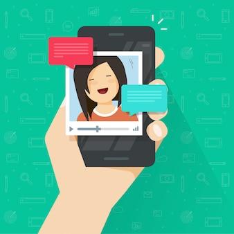 Videollamada en línea en un teléfono inteligente o teléfono móvil con video chat tecnología vector plano de dibujos animados