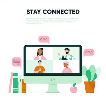 Videollamada en la pantalla. reunión virtual con la familia. concepto de videoconferencia
