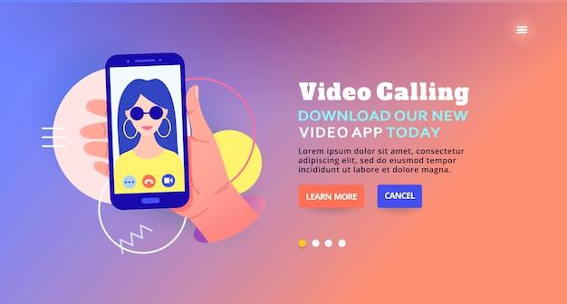 Videollamada a través de la aplicación, messenger. video chat móvil en una aplicación móvil en línea, diseño de banner web. ilustración de servicio de video en línea.