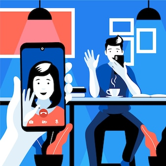 Videollamadas de amigos en el teléfono inteligente