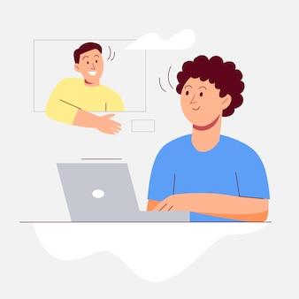 Videollamadas y chateando con amigos