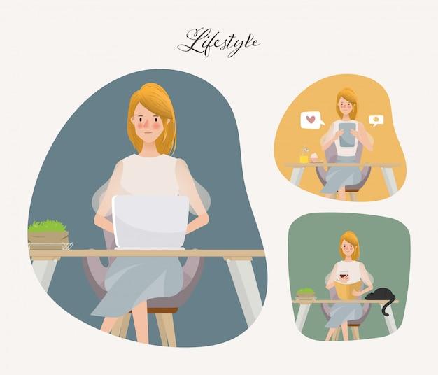 Videollamadas, facetas y comunicación en redes sociales. mujer joven en estilo de vida y trabajo haciendo.