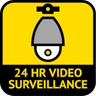 Videovigilancia, etiqueta de circuito cerrado de televisión, forma cuadrada, ilustración vectorial