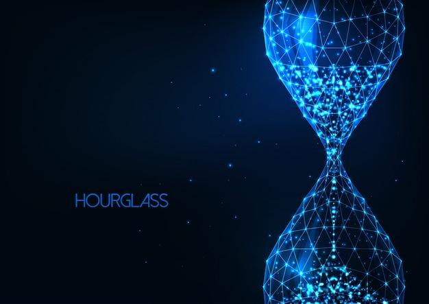 Vidrio de arena poligonal bajo brillante futurista, reloj de arena aislado sobre fondo azul oscuro.