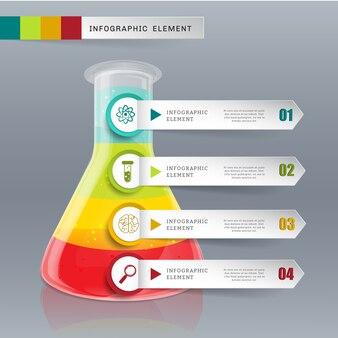 Vidrio de tubo de plantilla creativa para opciones de vector de infografía 4