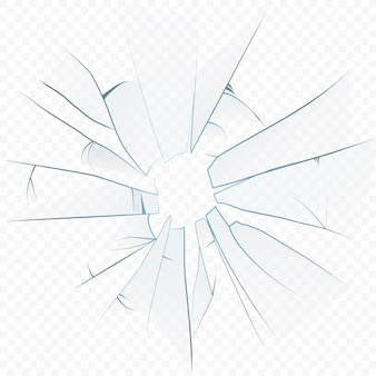 Vidrio realista triturado agrietado en el fondo alfa transperant.