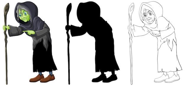 Vieja bruja en color y contorno y personaje de dibujos animados de silueta aislado sobre fondo blanco.
