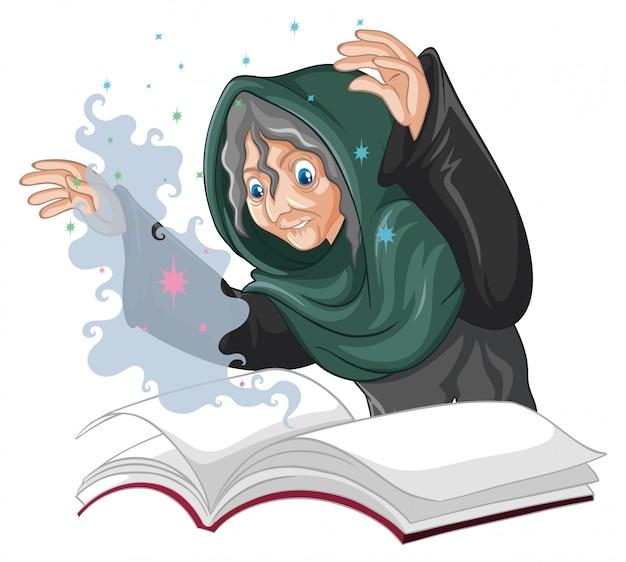 Vieja bruja con hechizo y libro estilo de dibujos animados aislado sobre fondo blanco.