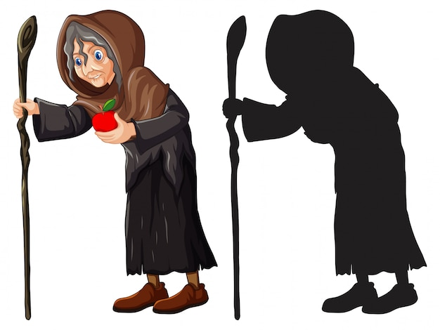 Vieja bruja con manzana roja en color y silueta personaje de dibujos animados aislado sobre fondo blanco.