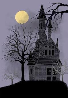 Vieja ilustración de casa abandonada