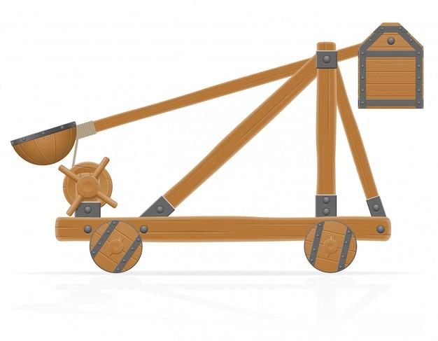 Vieja ilustración de vector de madera catapulta