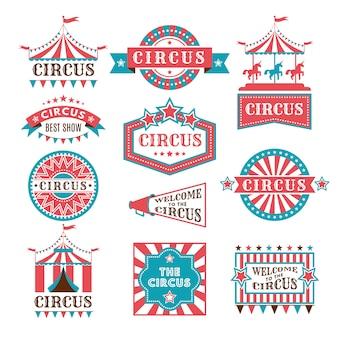 Viejas insignias y etiquetas para carnaval y circo muestran invitación.