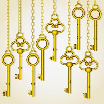 Viejas llaves de oro colgando eslabones de la cadena