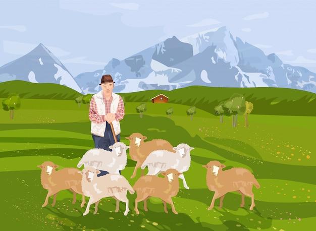 Viejo agricultor ovejas y paisaje de fondo con montañas