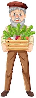 Viejo agricultor sosteniendo una caja de madera de vegetales aislados