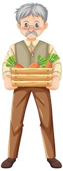 Viejo agricultor sosteniendo una caja de madera de zanahorias