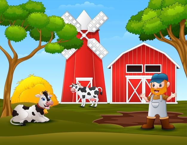 Viejo granjero con vacas en la granja