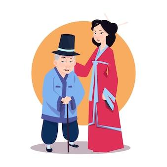 Viejo hombre asiático con mujer joven en kimono japonés