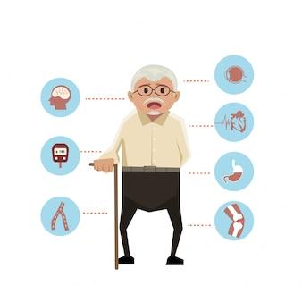 Viejo hombre con los iconos de la enfermedad