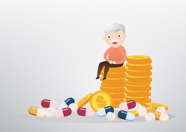Viejo hombre sentado en concepto de monedas, negocios y cuidado de la salud. vector, ilustración